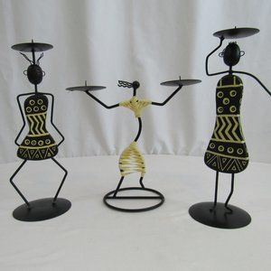 African Style Female Figure Candle Holders - Set o